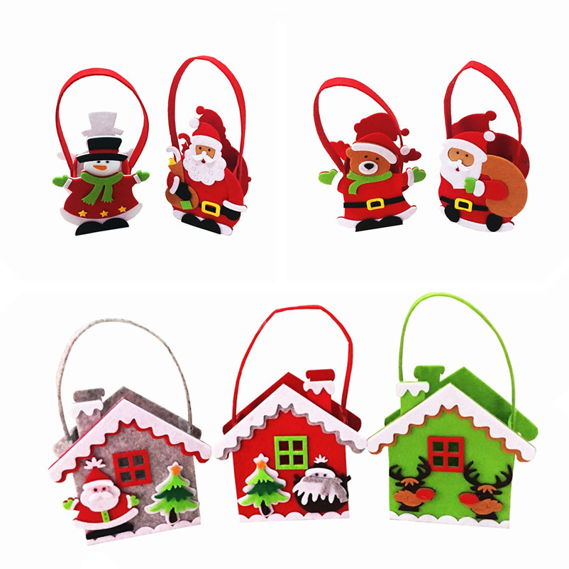 Stereoscopic Mini Christmas Gift Bags Santa Claus House Candy Bag XMAS Decor Holiday Hand Bags New Year