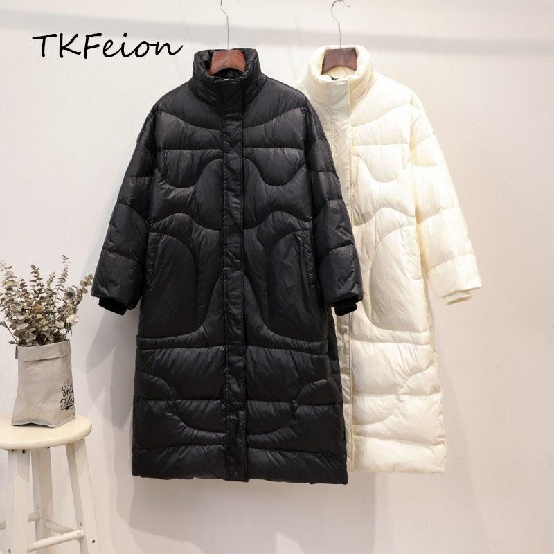 Women Winter Jacket Black,Beige 2019 Spring Autumn Fashion Ladies Loose Parka Stand Collar Long Style Female Duck Down Warm Coat