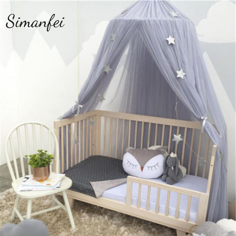 Simanfei Round Baby Bed Mosquito Net Dome Hanging Cotton Bed Canopy Mosquito Nets Curtain For Hammock Baby Kid Room Decor Dossel
