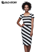 GLO-STORY Women's Black White Vintage Striped Elegant Office Dresses Woman Knee Length Wear To Work Summer Bodycon Dress 6026
