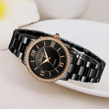 SUNKTA Top Brand Luxury Diamond Women Watch Simple Waterproof Watches Rose Gold Black Ceramic Quartz Clock Zegarek Damski