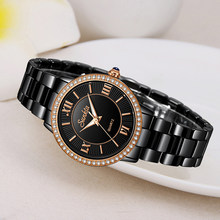 SUNKTA Top Brand Luxury Diamond Women Watch Simple Waterproof Watches Women Rose Gold Black Ceramic Quartz Clock Zegarek Damski(China)