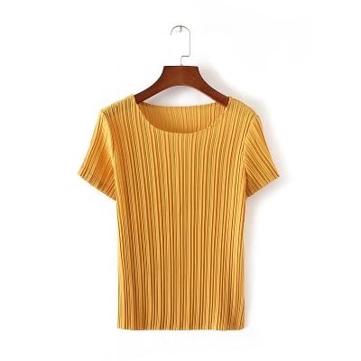 Manches Gratuite Courtes Livraison À Noir Stock En jaune Mode Court Mousseline Pure rose Miyake De Soie vert Couleur Plier rouge Est blanc T shirt FXxqqYdrpw