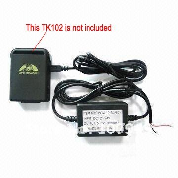 Hard wired car charger Cable for GPS Tracker TK102,car charger tk102 ,Free shipping