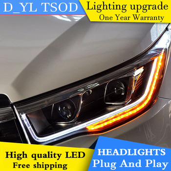 D_YL Car Styling for Toyota Highlander Headlights 2015 Highlander LED Headlight DRL Lens Double Beam H7 HID Xenon bi xenon lens