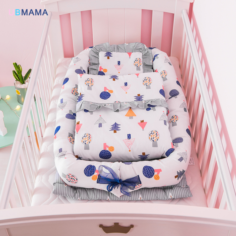 High quality Easy to clean multi pattern cotton fabric folding bed light baby bed crib supplies pillow + quilt high quality multicolore pattern flax pillow case without pillow inner