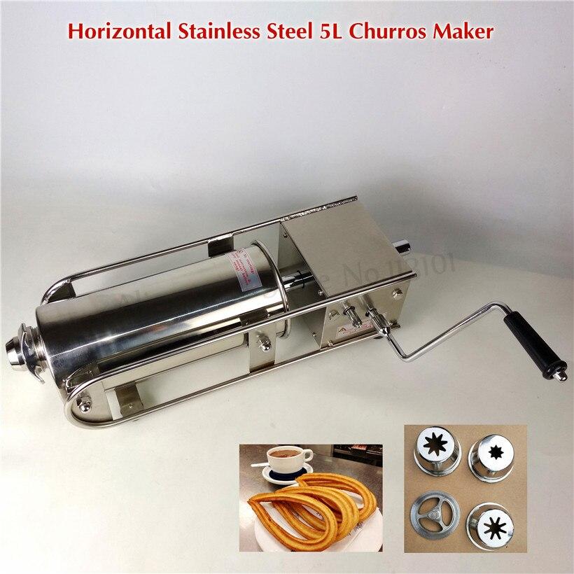 5L Horizontal Manual Spanish Churros Maker Sausage Meat Filling Machine Sausage Stuffer Stainless Steel Salami Maker