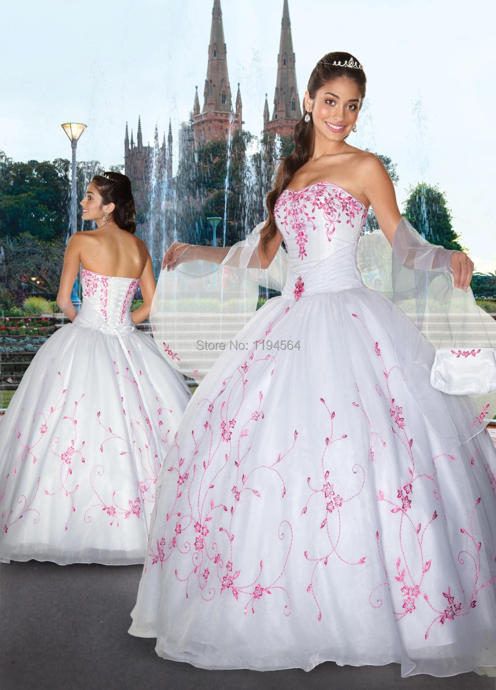 Popular White and Hot Pink Quinceanera Dresses-Buy Cheap White and ...