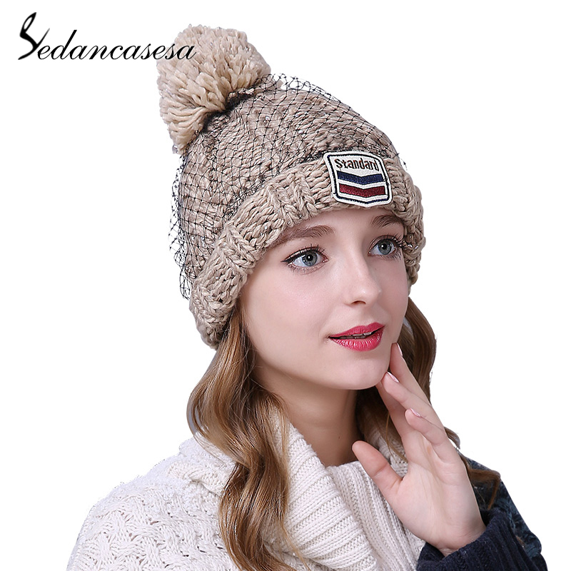 Sedancasesa New Pompom Mesh Winter Hat for Women Fashion Warm Hats Knitted   Skullies     Beanies   Cap Brand Thick Ladies Female Cap