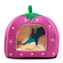 LHLL-Soft Sponge Strawberry Pet Bed House Cushion Basket Pillow Pink – L