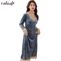 Fdfklak new autumn long sleeve nightgown sexy sleepwear Velvet night dress women nightwear pink/wine red sleeping dress Q1487