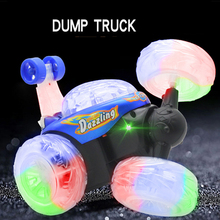 Rechargeable remote control dump truck three music remote stunt car lighting dumpers children s font b