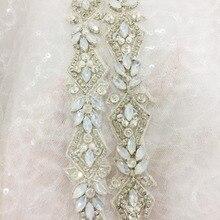 1 Yard Luxury Thin Opal Silver Embroidered Rhinestone Beaded Trim for Bridal Belt Wedding Dress Sash