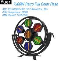 7X60 Вт Светодиодный Полноцветный RGBW 4в1 Ретро вспышка света DMX512 Звук светодиодный бар Вечерние огни дискоклуб большой сценический стробоско