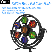 7X60W LED Full Color RGBW 4IN1 Retro Flash Light DMX512 Sound LED Bar Party Lights DJ Disco Club Big Stage Strobe Flash Light 2pcs lot high brightness king kong strobe 8p 200w led strobe dmx512 sound control party disco dj bar light show projector strobe