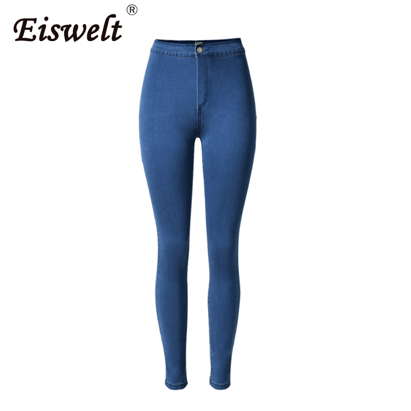 EISWELT Jeans Women Pant Burgundy Elastic Plus Style Hot Denim Jean Pants Trousers Skinny Pencil High Waisted Woman Jeans Femme