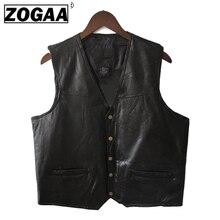 Men Vest Leather Black Biker Genuine Motorcycle Rock Sleeveless Jacket Male Autumn Plus Size Clothing 4XL for