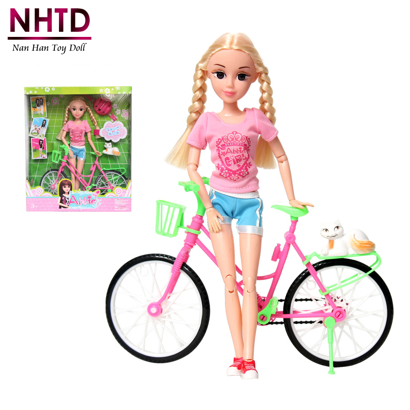 Abbie Bicycle Doll and Equipment 14-Joint Physique Desigin Academic Toy Vogue Dolls Greatest Presents For Woman for barbie