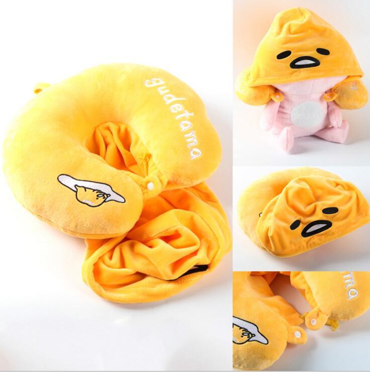 retail gudetama lazy egg Eggs jun Egg lazy balls Creative nap U pillow neck pillow cartoon hat plush doll WJ01 neck support nap pillow