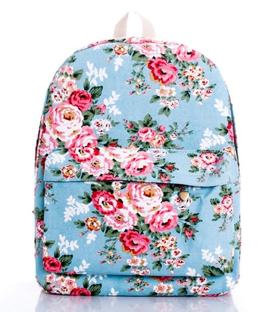 2015 women printing flower backpack school shoulder bags for teenagers girls canvas 14 laptop preppy bookbag brand backpacks