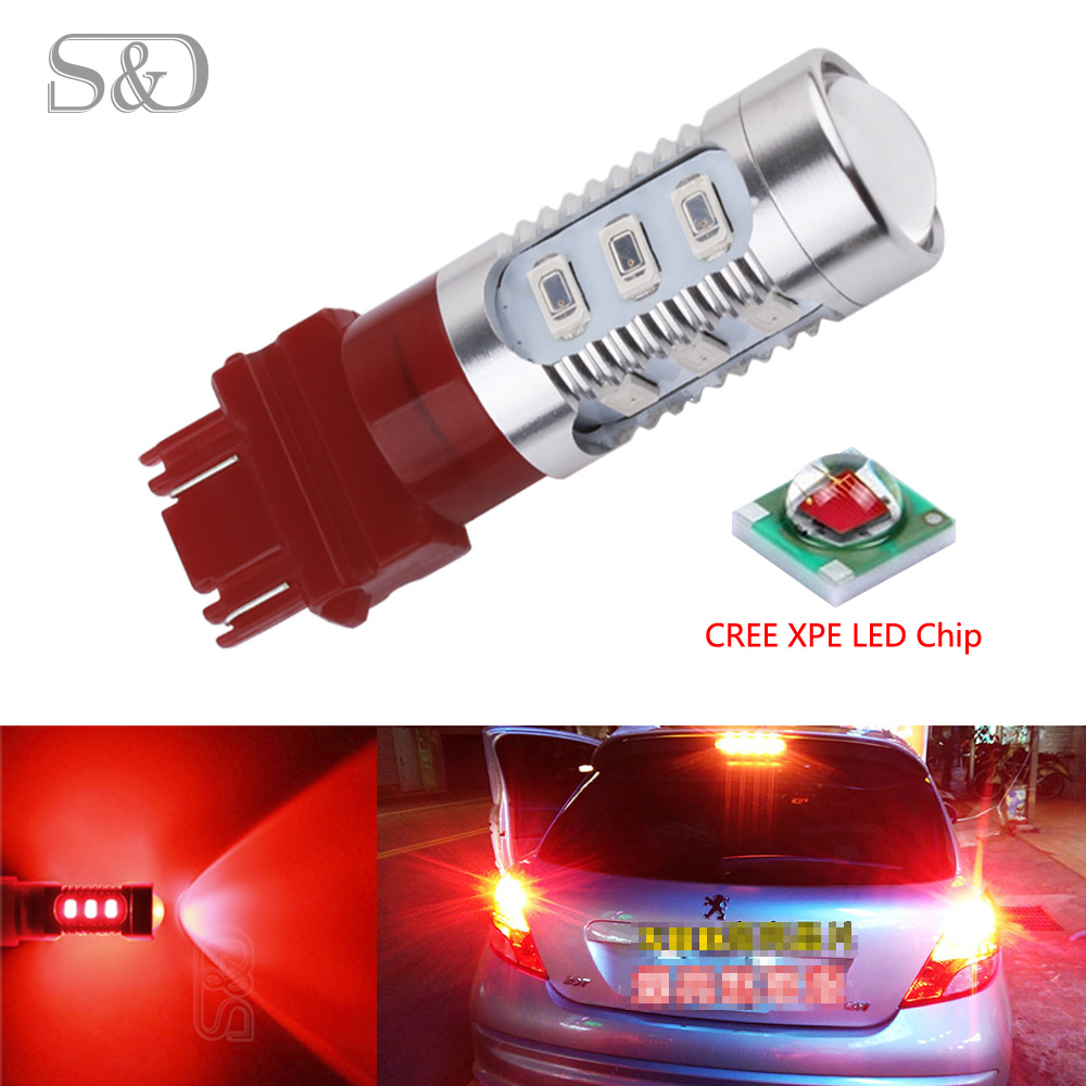 S&D 3157 3156 car light Source 12 SMD 5630 5W Cree Chips P27/7W led High Power P27W led car bulbs Brake Lights Red Parking D030 3156 3w 1 smd led red light car steering backup light 12v