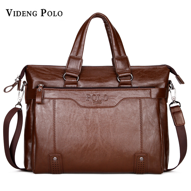 VIDENG POLO New Brand Men's Bag Leather High Quality Handbag Business Briefcase Laptop Crossbody Shoulder Bag Messenger Bag high quality authentic famous polo golf double clothing bag men travel golf shoes bag custom handbag large capacity45 26 34 cm