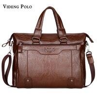 VIDENG POLO dei Nuovi Uomini di Marca Sacchetto di Cuoio di Alta Qualità Borsa Notebook Business Briefcase Crossbody Shoulder Bag Messenger Bag