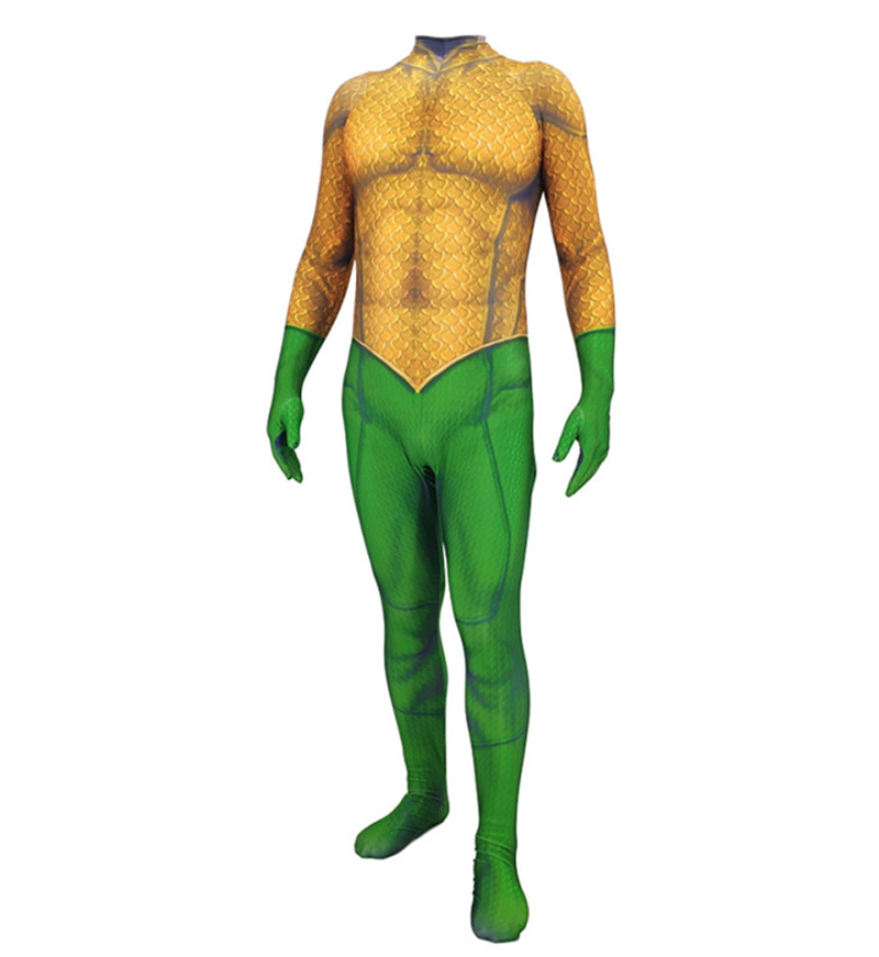 Mens Aquaman bodysuit Arthur Curry jumpsuit cosplay costumes Jason Momoa muscle bodysuit any size