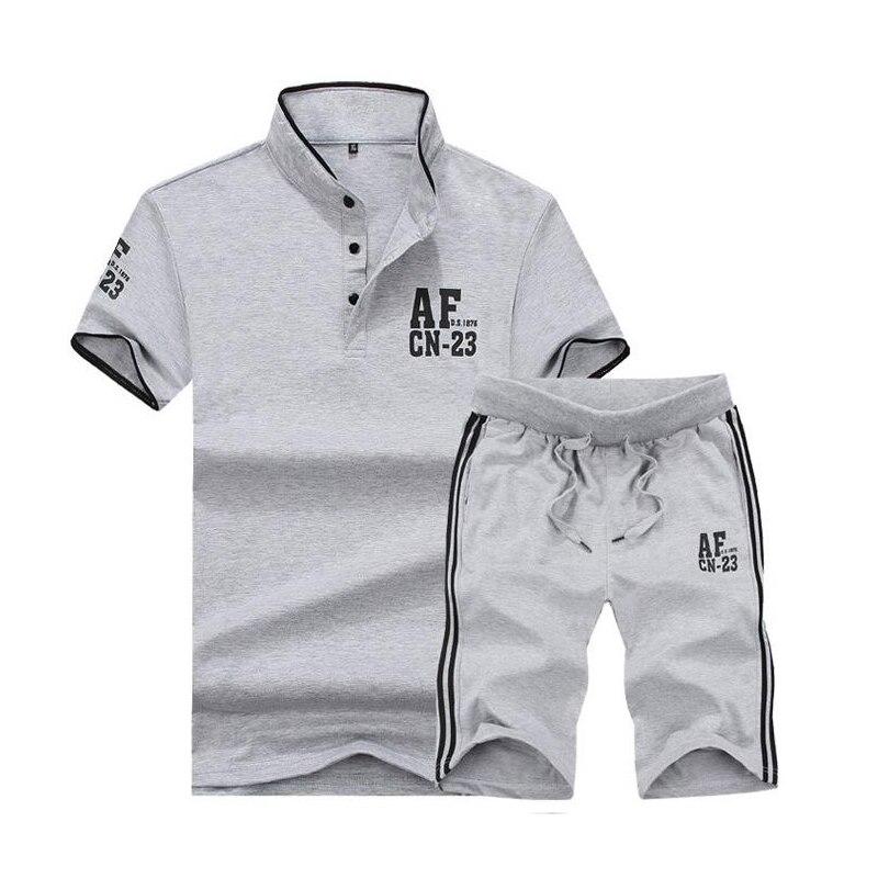 Hot New Men's AF Suit Men's Short Sleeve 2 Piece Sets Summer Fashion Men's Suits T-shirt+Shorts Mens Suit
