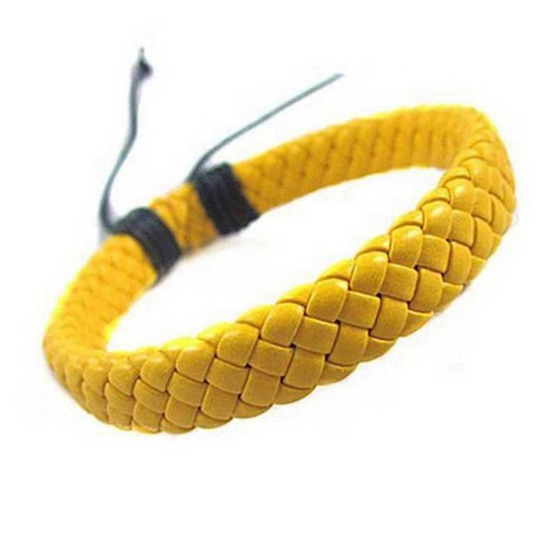 1 шт. панк черный/коричневый/белый/желтый плетеный кожаный браслет мужские аксессуары мужские ювелирные изделия черные цветные кожаные браслеты