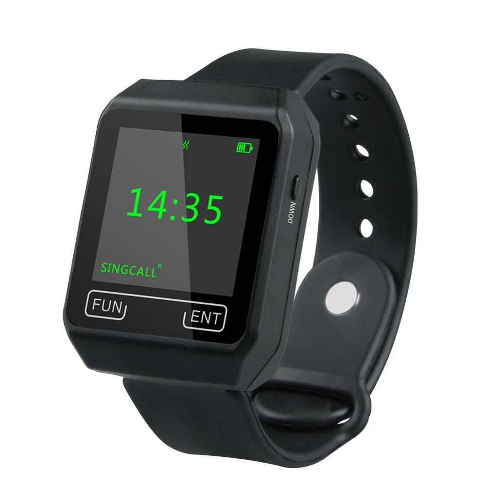 SINGCALL Беспроводной вызова Системы, мобильные приемник, нового поколения Часы приемника, большой Экран, водонепроницаемые часы (новый APE6800)