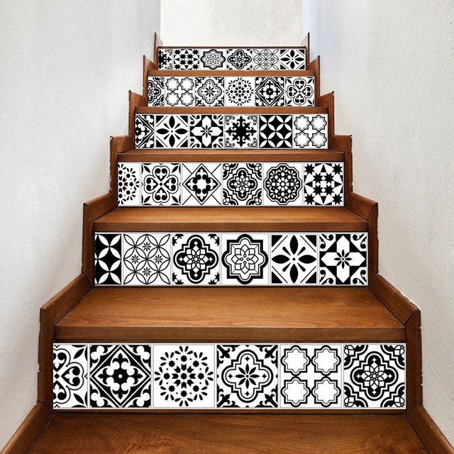 6pcs Set Creative Diy Arabic Styley Wall Stickers Stairs Decoration Ceramic Tile Pattern For