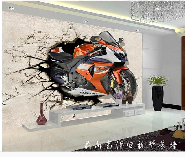 3d wall murals wallpaper Home Decoration Motorcycle wall broken 3D
