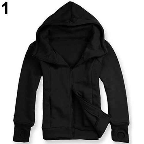 Jaqueta masculino 新クール男性冬暖かいソリッドカラー手袋スリーブフードトレーナー生き抜くジャケットホット販売送料無料