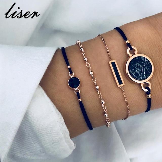 4 PCS Bohemia Chain & Link Bracelets Bangles Sets For Women Black Stone Charm Bracelets Jewelry Gifts New 2019 New Statement