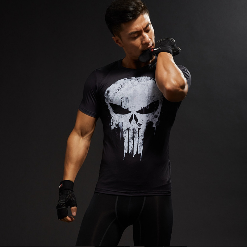 Punisher Gym Sport Short Sleeve T Shirt Men T-Shirt Male Crossfit Tee Captain America Superman tshirt Fitness Compression Shirt  4