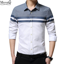 Mwxsd brand casual men shirt long sleeve slim Fit oxford shirts Men's dress Shirt vetement chemise homme