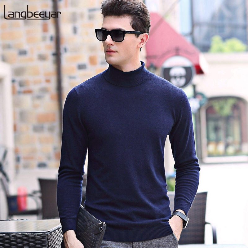 2019 Top Grade New Fashion Brand Sweater For Mens Pullover Slim Fit Jumpers Knitred Turtleneck Korean Style Casual Clothing Men