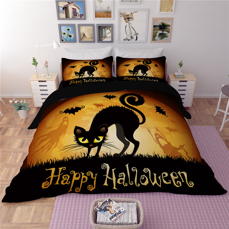 Happy Halloween cat bedding Sets Sense of design twin full queen king size bedclothes duvet cover quilt cover pillow cases Happy Halloween cat bedding Sets Sense of design twin full queen king size bedclothes duvet cover quilt cover pillow cases