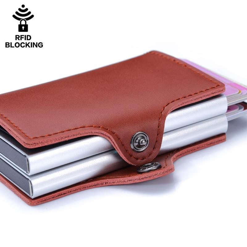 Porte-carte de crédit en métal de haute qualité automatique pop up portefeuille en aluminium antivol Rfid bloquant le porte-monnaie en cuir porte-monnaie - 5