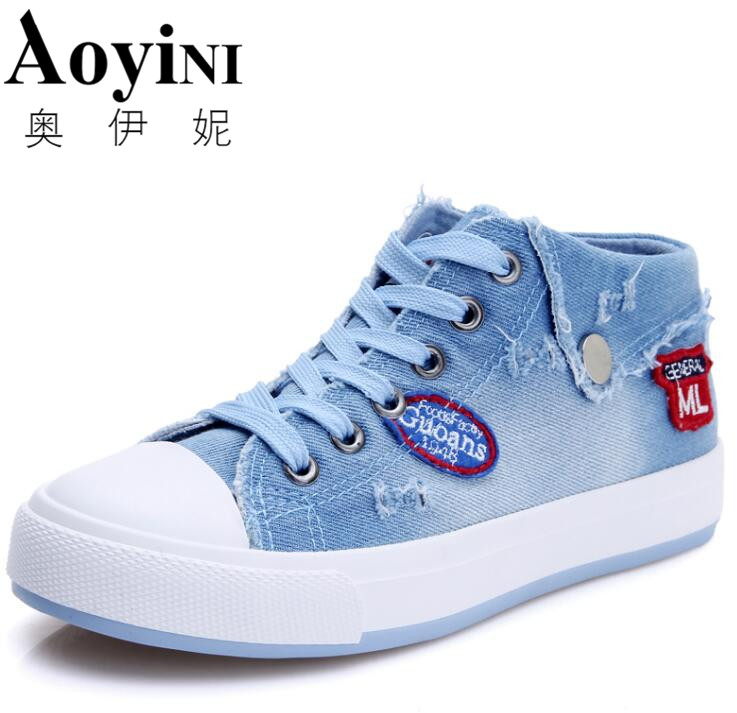 Free Shipping New 2018 Top Sale High Quality Design Fashion Washing Denim Canvas for Women Jeans Canvas Shoes 2 Colors Size35-40 luxury good quality new fashion women zipper jumpsuit slim fit skinny jeans rompers pocket denim jumpsuits size sexy girl casual