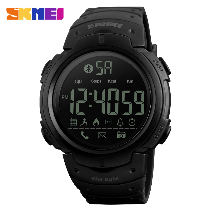 <font><b>SKMEI</b></font> Men Women Smart Sports Calories Pedometer Digital Reminder Watches Fitness Bluetooth For Ios Android Wristwatches <font><b>1301</b></font> image