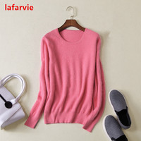 Lafarvie 2017Quality Fashion Autumn Winter O Neck Full Sleeve Mink Cashmere Sweater Women Pullover Knit Jumper