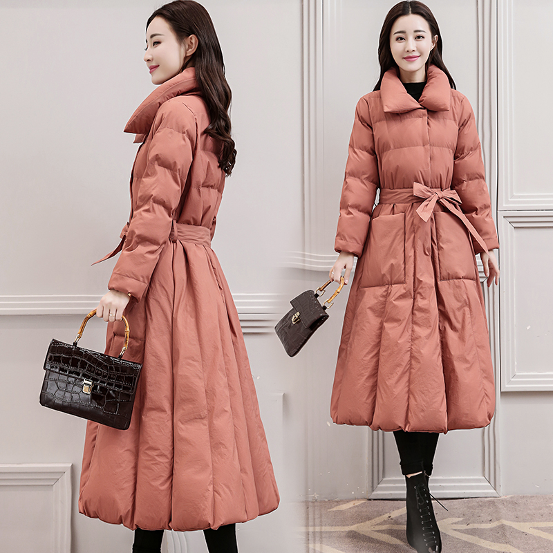 2018 Winter Fashion Women Coats Cotton-padded Jacket Thick Warm Slim Over the knee Parka Long Overcoat red/pink/black