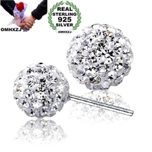 цены OMHXZJ Wholesale girl gift Fashion jewelry Austrian crystal Drill ball 925 sterling silver Stud earrings YS14
