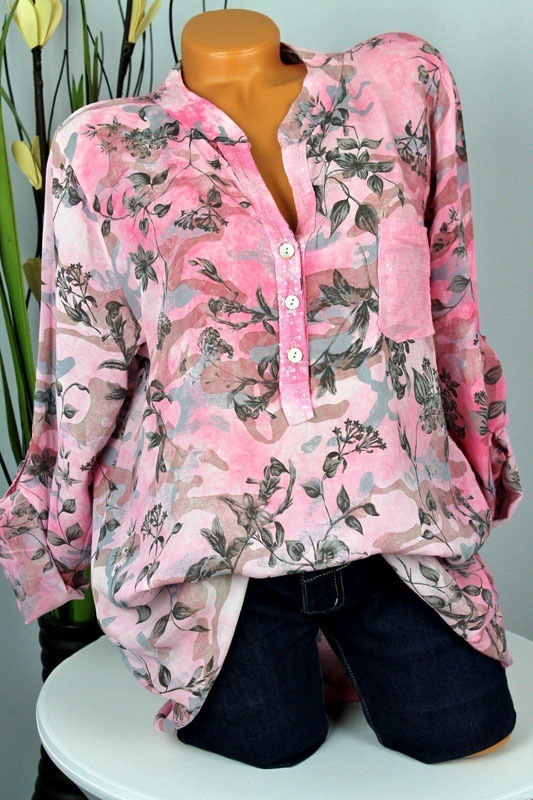 chic women blouse costume female womens top shirt ladies flower printed sexy long sleeve new