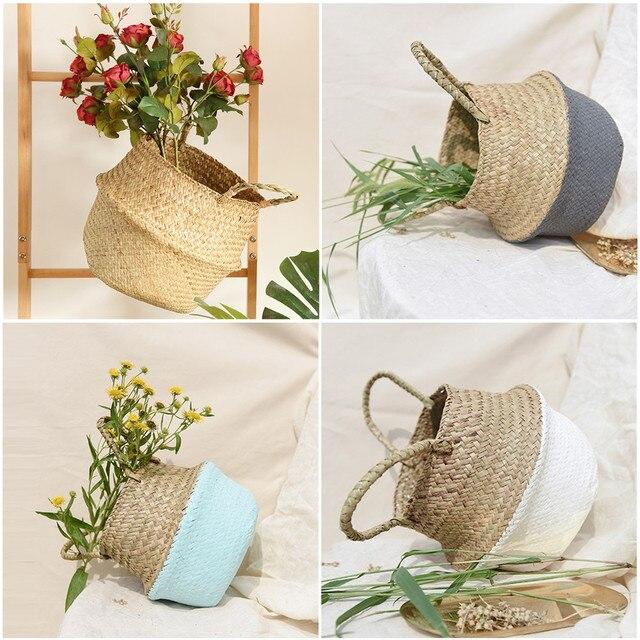 Artesanal de Bambu De Armazenamento Cestas de Lavanderia Dobrável de Palha Patchwork Barriga Flor Pote Plantador de Vime Seagrass Cesta De Vime # N