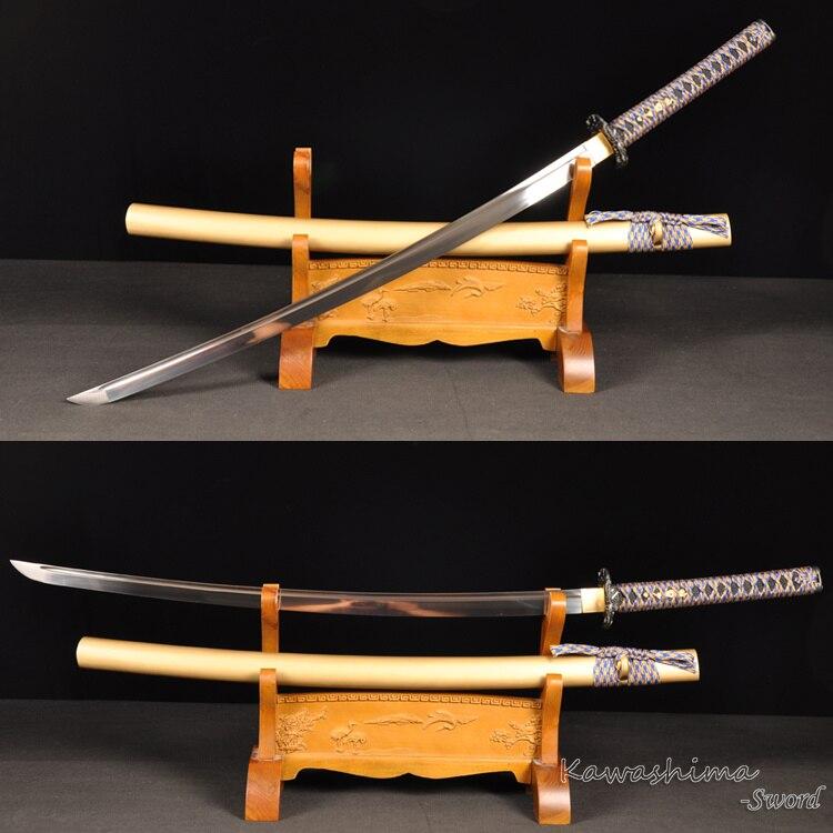 Épée japonaise Dojo entraînement Katana lame pleine Tang avec Dragon léger Tsuba netteté pleine Tang fourreau en bois d'or
