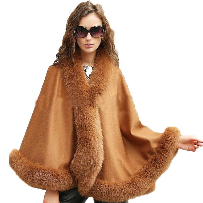 Dámská pravá skutečná kašmírová pravá liška kožešinová dámská kabát hnědý kabát Poncho / Shawl // Cape Wraps