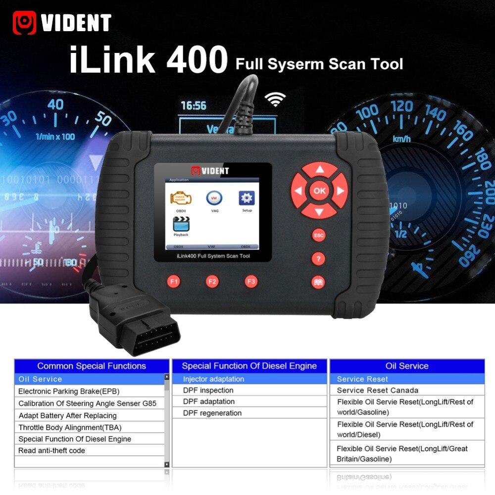 US $143 1 10% OFF|VIDENT iLink400 Automotive Full System Scanner  ABS/SRS/EPB/Transmission Diagnostic tool DPF Regeneration,Oil Reset Update  Online on